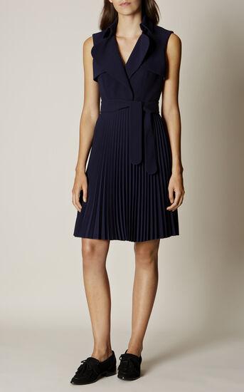 Karen Millen, PLEATED TRENCH DRESS Navy 1