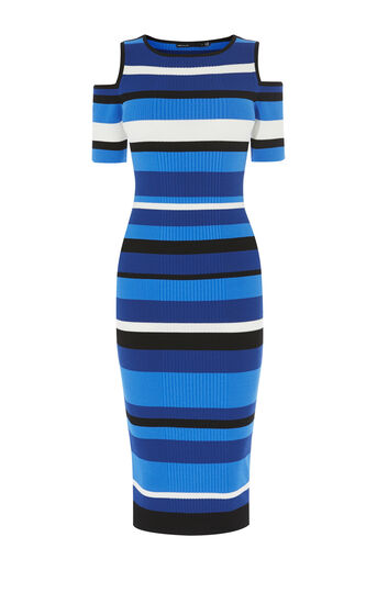 Karen Millen, COLD-SHOULDER STRIPE DRESS Blue/Multi 0
