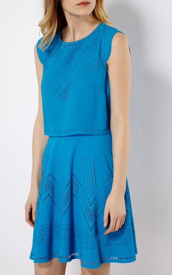 Karen Millen, LASER-CUT DRESS Blue 2
