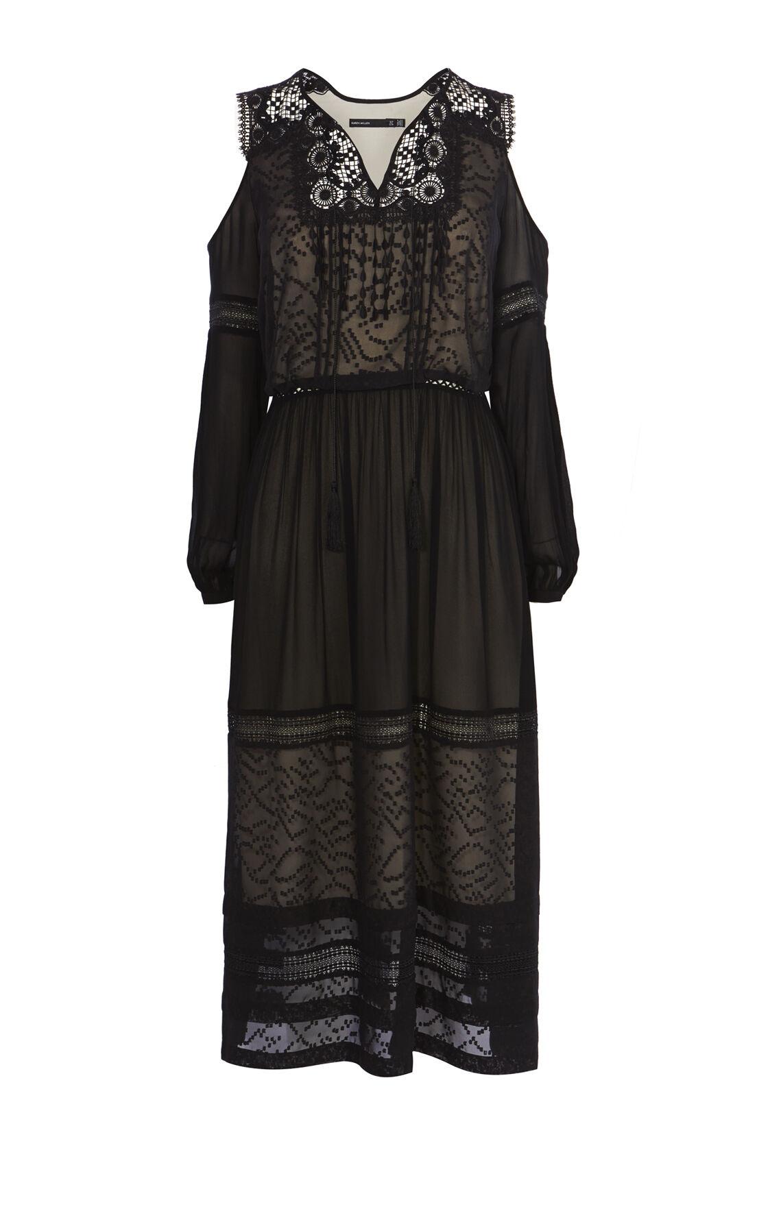 Karen Millen, BLACK MESH COLD-SHOULDER DRESS Black 0