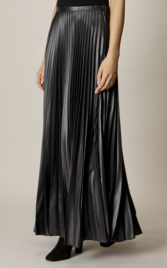 Karen Millen, WETLOOK PLEAT MAXI SKIRT Black 2