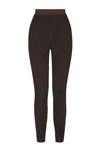 Karen Millen, FAUX-SUEDE CONTRAST LEGGINGS Brown 0