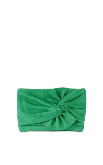 Karen Millen, SUEDE BOW CLUTCH Green 0