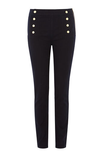 Karen Millen, BUTTON-DETAIL LEGGING Dark Denim 0
