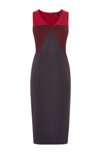 Karen Millen, COLOURBLOCK PENCIL DRESS Red/Multi 0