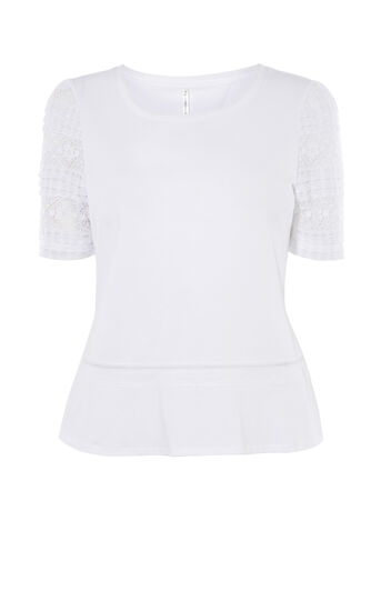 Karen Millen, TY153 BEAUTIFUL TOP WITH LACE White 0