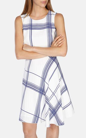 Karen Millen, FLUID CHECK PRINT DRESS White/Mult 2