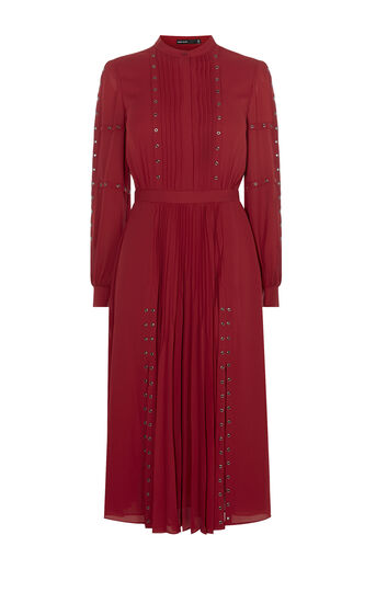 Karen Millen, STUDDED SHIRT DRESS Dark Red 0