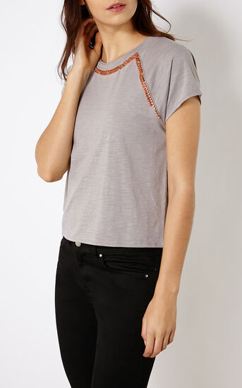 Karen Millen, STUDDED T-SHIRT Grey 2
