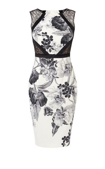 Karen Millen, FLORAL-PRINT PENCIL DRESS Black & White 0