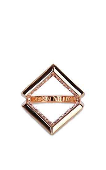 Karen Millen, The Angle Crystal Ring Rose Gold 2