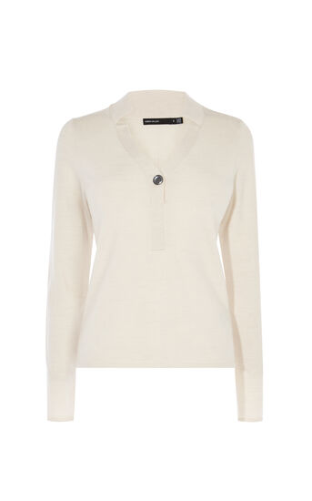 Karen Millen, LONG-SLEEVED POLO TOP Nude 0