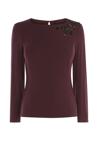 Karen Millen, CRYSTAL SHOULDER TOP Aubergine 0