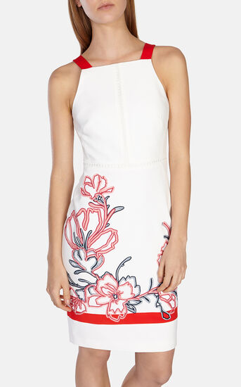 Karen Millen, Floral ribbon embroidery dress White/Mult 2