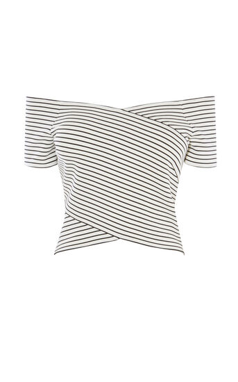 Karen Millen, STRIPED OFF-THE-SHOULDER TOP Neutral 0