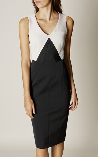 Karen Millen, COLOURBLOCK PENCIL DRESS Black & Ivory 2