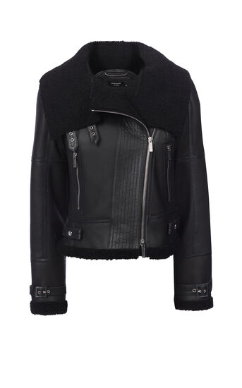 Karen Millen, SHEARLING AVIATOR JACKET Black 0