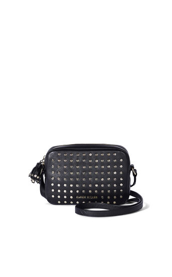 Karen Millen, LEATHER STUD CAMERA BAG Black 0