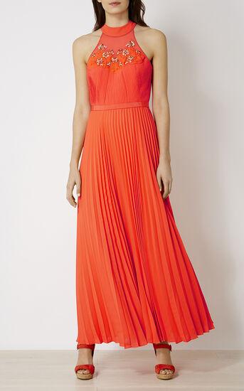 Karen Millen, JEWEL PLEATED MAXI DRESS Coral 1