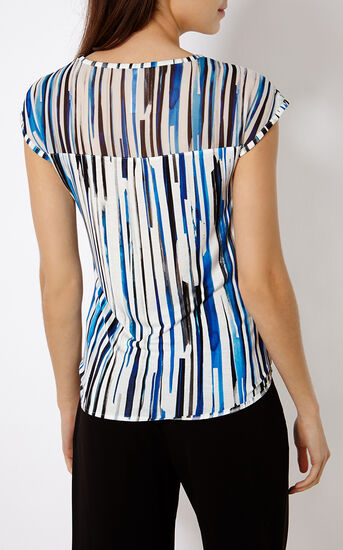 Karen Millen, STRIPED T-SHIRT Blue/Multi 3