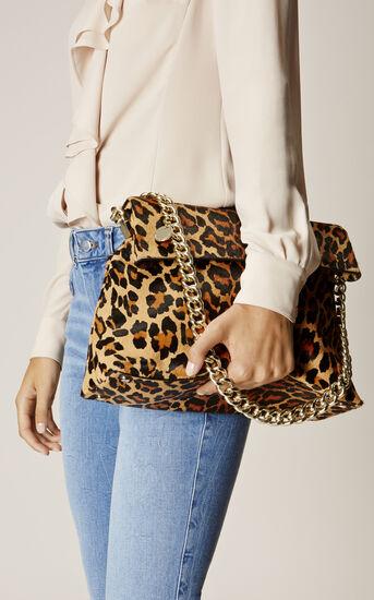 Karen Millen, REGENT SUEDE AND LEATHER BAG Leopard Print 1