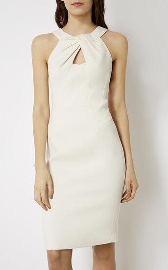 Karen Millen, KNOT-NECKLINE PENCIL DRESS White 2