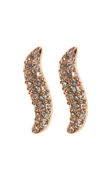 Karen Millen, ZZ024 Pave Wave Stud Earrings Rose Gold Colour 0