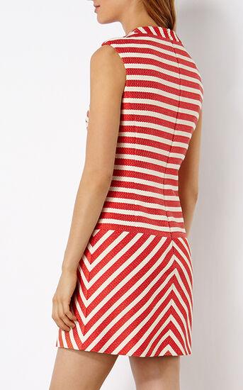 Karen Millen, STRIPED TWEED SHIFT DRESS Red/Multi 3