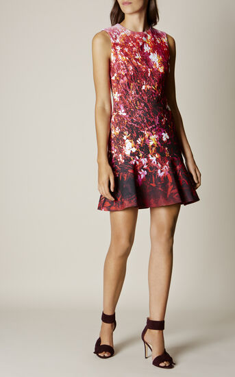 Karen Millen, FLORAL SCUBA DRESS Pink/Multi 1