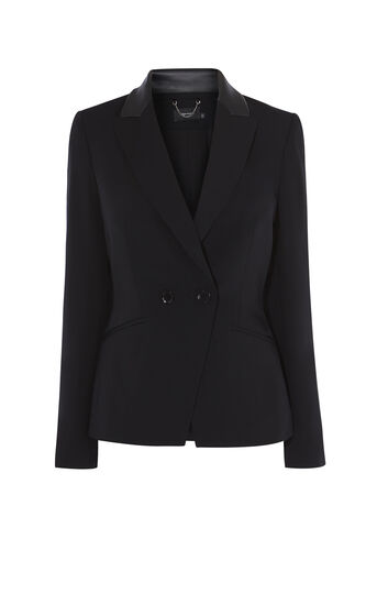 Karen Millen, LEATHER-COLLAR TUXEDO JACKET Black 0