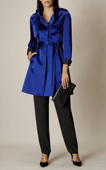 Karen Millen, SATIN MAC COAT Blue 1