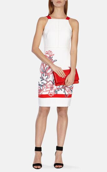 Karen Millen, Floral ribbon embroidery dress White/Mult 1