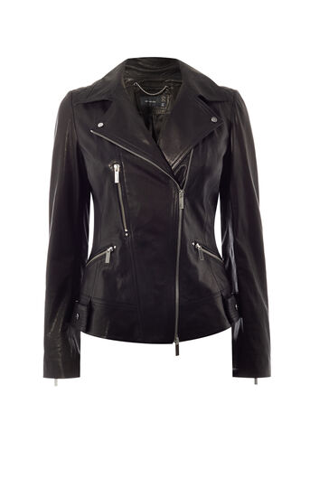 Karen Millen, LEATHER BIKER JACKET Black 0