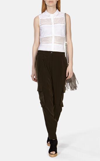 Karen Millen, Crisp cotton stretch broderie White 1