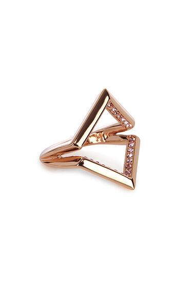 Karen Millen, The Angle Crystal Ring Rose Gold 0