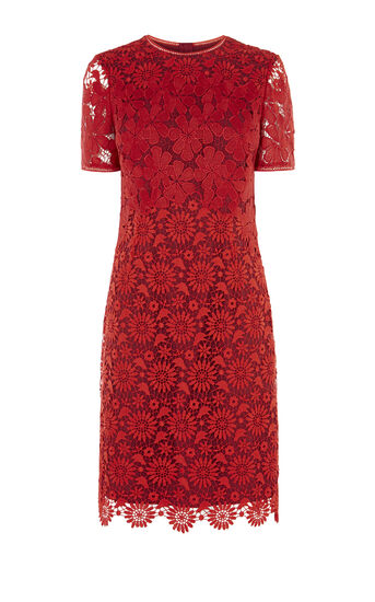 Karen Millen, LACE PENCIL DRESS Red/Multi 0