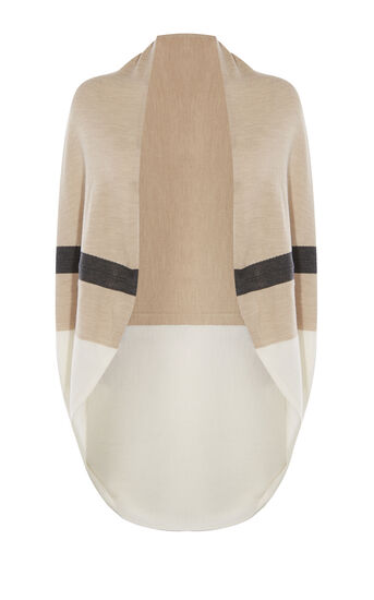 Karen Millen, DRAPED STRIPE CARDIGAN Neutral 0