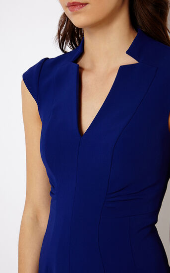 Karen Millen, V-NECK DRESS Blue 4