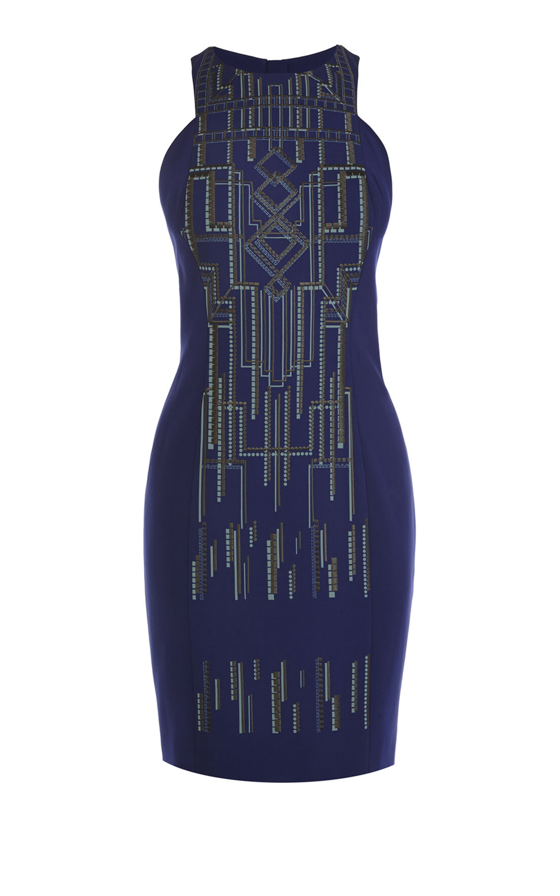 Karen Millen, Tribal print and embroidery dr Navy 0