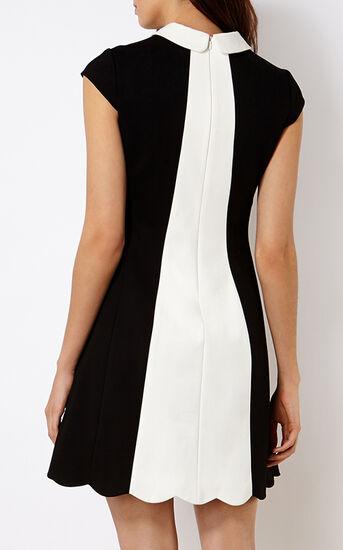 Karen Millen, SCALLOPED MINI DRESS Blk & Ivry 3