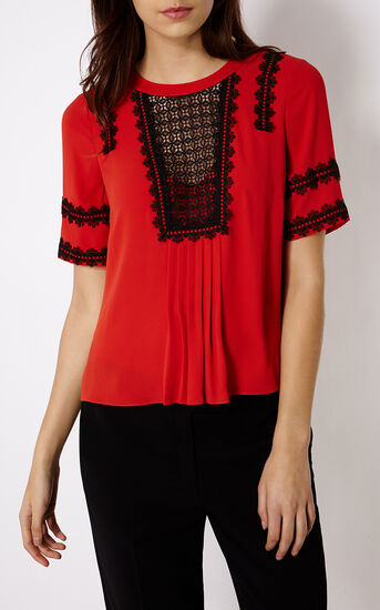 Karen Millen, APPLIQUÉ BLOUSE Red/Multi 2