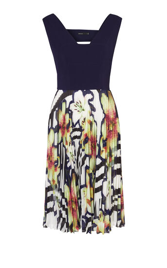 Karen Millen, PLEATED SKIRT DRESS Multicolour 0