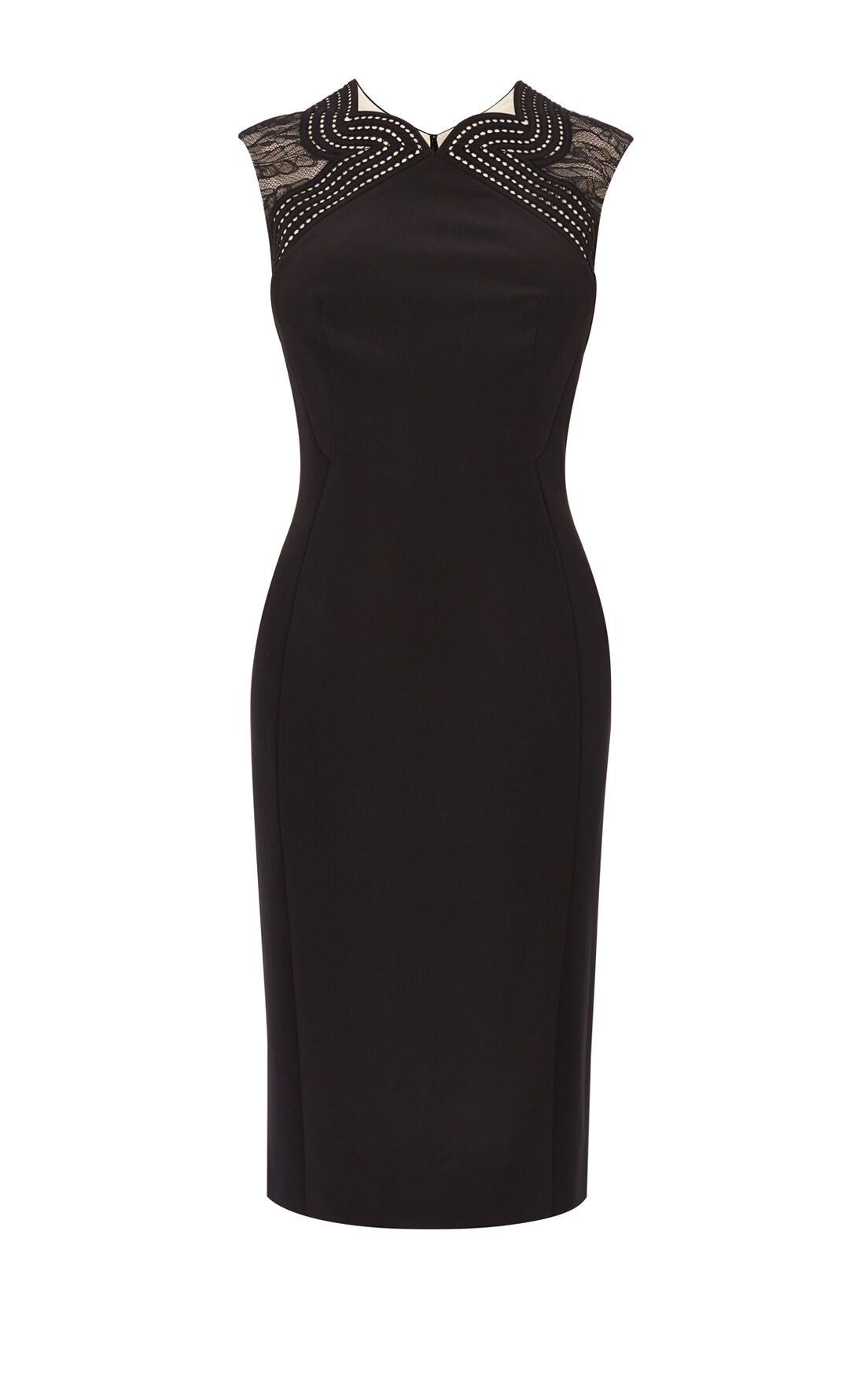 Karen Millen, LACE PANEL DRESS Black/Multi 0