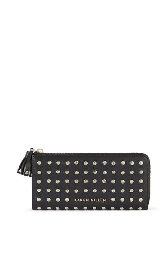 Karen Millen, LEATHER STUDDED PURSE Black 0