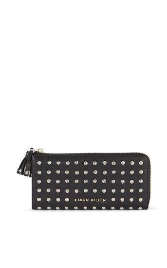 Karen Millen, Geldbörse aus Leder mit Nieten Schwarz 0