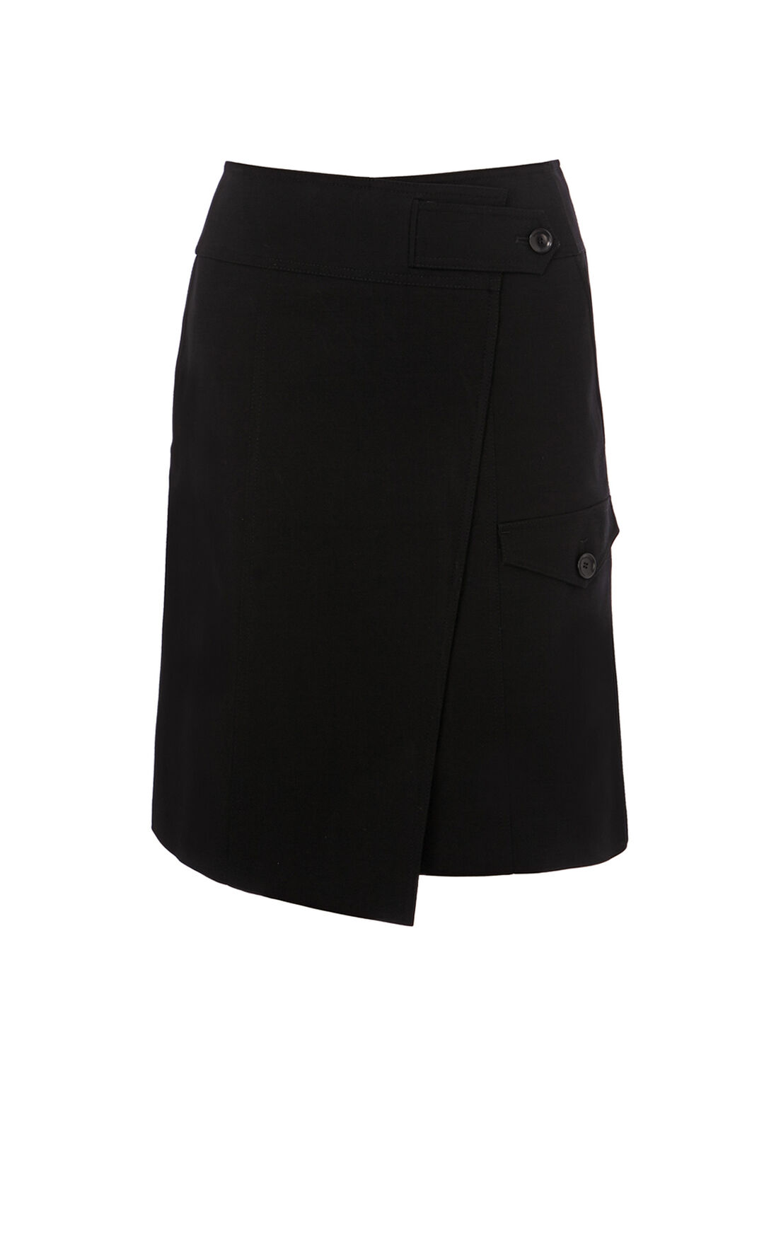 Karen Millen, COTTON WRAP SKIRT Black 0