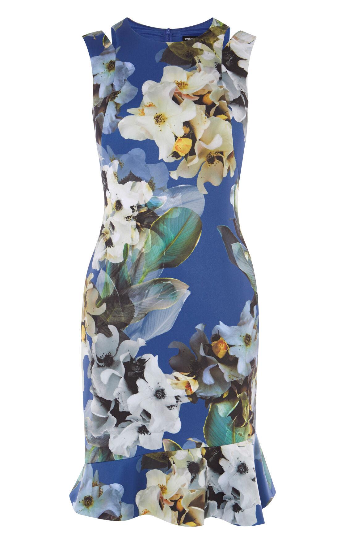 Karen Millen, FLORAL SCUBA DRESS Blue/Multi 0