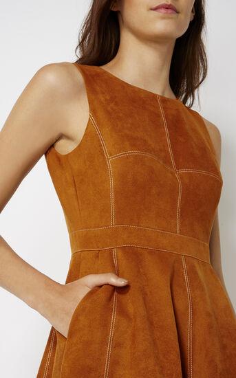 Karen Millen, SUEDE FLARED DRESS Tan 4