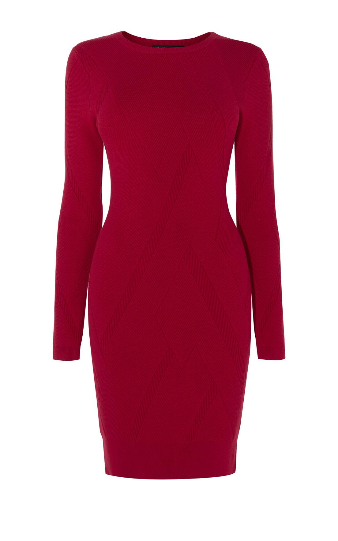 Karen Millen, GRAPHIC RIB DRESS Red 0
