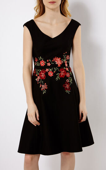 Karen Millen, FLORAL EMBROIDERY DRESS Black/Multi 2